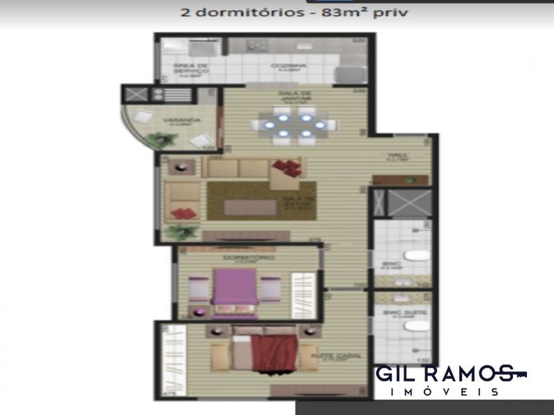 Apartamento 2 quartos com suíte e 2 vagas de garagem - Centro